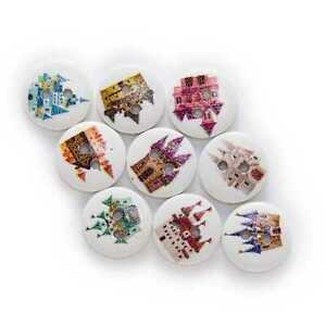 50pcs Castle Theme Printing Wooden Buttons Scrapbook Sewing Handwork Decor 15mm
