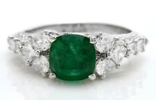 3.60 Carat Natural Colombian Emerald & Diamonds 18K Solid White Gold Women Ring