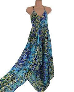 BOOHOO turquoise blue boho paisley chiffon see through beach dress size S 10