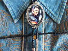 New Elvis Presley Bolo Tie Silver Metal Genuine Leather Cord Western,Rock N Roll