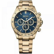 hugo boss 1513340 ikon chrono Herrenuhr Farbe gold blau neu