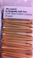 "20 pk Golf Tees - Zero Friction 3-prong 2 3/4"" Tees - Pro Length Wood"