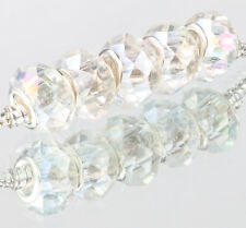 white AB 5pcs MURANO Crystal bead LAMPWORK fit European Charm Bracelet E520