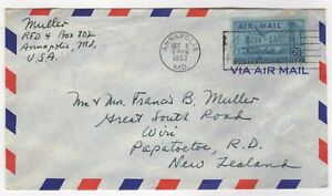 1953 Oct 8th. Air Mail. Annapolis to Papatoetoe, New Zealand.