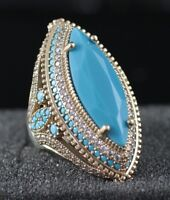 925 Sterling Silver Handmade Authentic Turkish Turquoise Ladies Ring Size 7-9