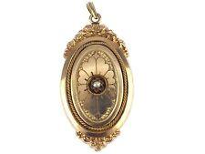 Historismus per 1890 giallo oro double sementi PERLA Foto Medaglione rimorchio