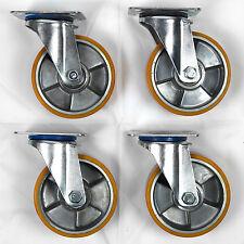 """Centro in Alluminio Pneumatico In Poliuretano Girevole Ruote, 4-Pack (125mm/5"""")"""