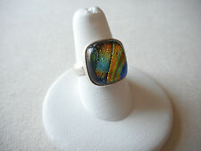 Sterling Silver 925 Colorful Art Glass Ring  Size 8.5  RE1201