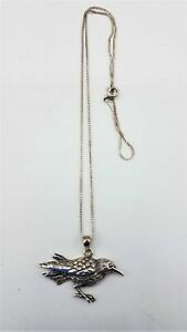 "925 Sterling Silver Bird Pendant Necklace 18"" LB997"