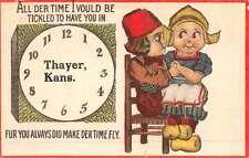 Thayer Kansas Dutch Children Clock Antique Postcard K50372