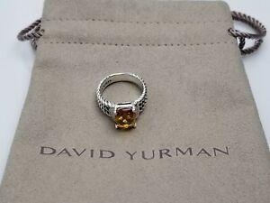 David Yurman Sterling Silver Petite Citrine & Diamond Wheaton Ring Size 7