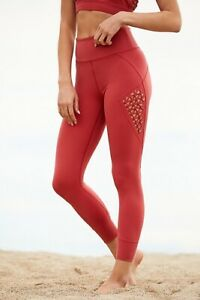 NEW FREE PEOPLE FP MOVEMEMENT Sz XS HIGH RISE 7/8 TRANQUILITY LEGGINGS RED