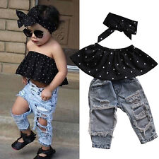 Fashion Toddler Baby Girls Black Blouse Top Hole Casual Denim Pants Outfits egea