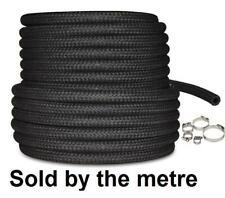 "10mm 3/8"" Car NBR Fuel Braided Hose Replacement Black 1 Metre Pipe + Hose Clip"