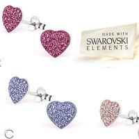 Sterling Silver Swarovski Elements Heart Stud Earrings