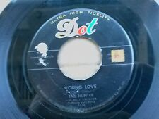 """TAB HUNTER 45 RPM """"Young Love"""" & """"Red Sails in the Sunset"""" VG- to VG condition"""