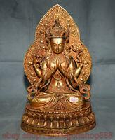 """14 """"bouddhisme tibétain bronze violet 24K doré 4 bras Chenrezig Bouddha Statue"""