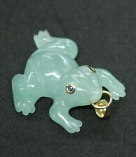 14KT Jade Lucky Frog Pendant Gemstone eyes