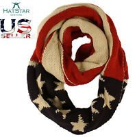 Infinity Scarf American Flag Knit Red White Blue Stars Stripes Vintage Patriotic