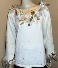 DESIGN OPTIONS White Gold Shimmer Ribbon Sequin Party Festive Holiday Sweater M