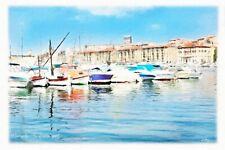 Tableau Création originale - Marseille vue du vieux port et mairie