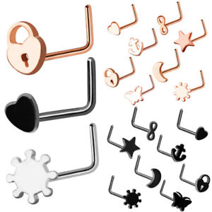8pc Set 20g Black Silver Rose Gold Heart Star Nose Stud Ring Piercing Jewellery