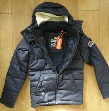 Mens Bluestone Superdry Jacket Fleece Lined Winter Coat in Navy Blue Marl Size S