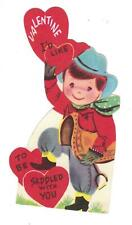 Vtg Die Cut Valentine Card Cowboy I'D Like To Be Saddled With You Usa 1950'S