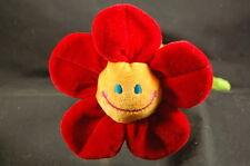 """Smiling Face Red Flower on Green Stem 11"""" Plush Lovey Plush Stuffed Flower"""