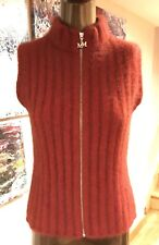 MERINO MINK  WOMENS RED ZIpped Vest With Possum Fur , Size M