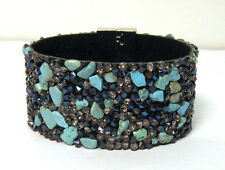 NEW IRIDESCENT METALLIC PEWTER TURQUOISE STONE CHIPS CLASP CUFF BRACELET