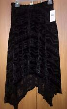Ralph Lauren Black Women Skirt Velour Chiffon Asymmetrical Lined NWT Small Stret