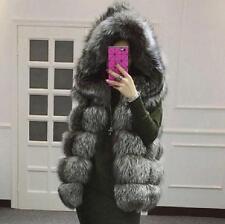 Womens Hooded Warm Gilet Outwear Slim Vest Faux Fur Winter Waistcoat Jacket Coat