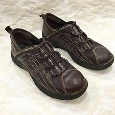 Nurse Mates Pillow Top Women's Slip-On Brown Leather Athletic Shoes Work occupat