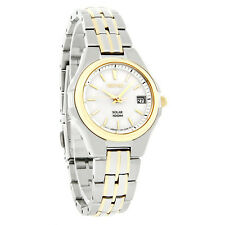 Seiko Solar Ladies Date White Dial TwoTone Bracelet Dress Watch SUT038