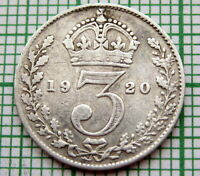 GREAT BRITAIN GEORGE V 1920 THREEPENCE 3 PENCE, SILVER