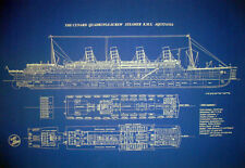 "Ships Plan Ocean Liner RMS Aquitania Cunard Line 1913 Blueprint 24""x34""(017)"