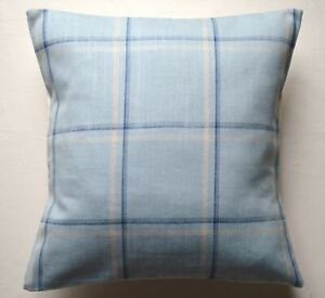 "16"" Corby Check Seaspray cushion cover"