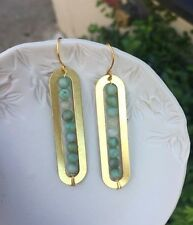 Handmade Mint Green Tree Agate Beads Linear Bar Brass Gold Plated Hooks Earrings