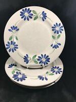 """Set of 4 PFALTZGRAFF SPRINGWOOD Blue Floral 10-1/4"""" Dinner Plates"""