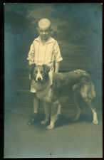 ORIGINAL OLD PHOTO BOY WITH DOG 1910s-1920s LATVIA RUSSIA ?