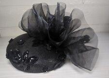 Black Deborah New York Flair Fancy Sequin Decorated Flower Beaded Dress Hat