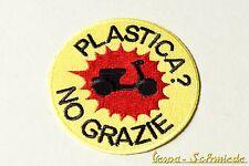 """Aufnäher """"Plastica? No grazie!"""" - Vespa Lambretta Scooter Roller Piaggio Patch"""