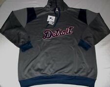 Detroit Tigers Quarter Zip Hoodie 2xl Charcoal Embroidered Logos Majestic MLB