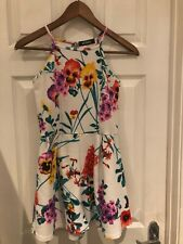 ladies misguided white playsuit floral white multi sz 8 bnwots