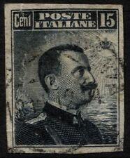 Regno - 1911 - cent.15 grigio nero - NON DENTELLATO - usato - Sasson n.96e