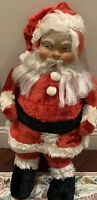 "Vtg Plush SANTA CLAUS Rubber Face Soft Fur Suit 31""X 16"" Christmas Retro Stuffed"