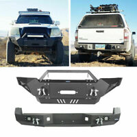Front Rear Bumper w/ Winch Plate, LED Lights Fit Toyota Tacoma 05-15  2nd Gen