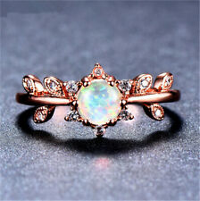 Rose Gold Oval Cut White Artificial Opal Rings Wedding Engagement Jewelry Size 8