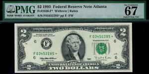 1995* $2 Atlanta CLASSIC HOLDER Federal Reserve STAR Note FRN 1936-F* PMG 67 EPQ
